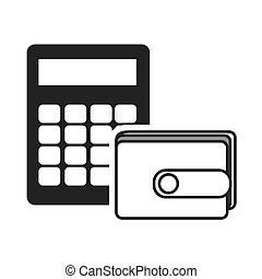 wallet personal accessory with calculator device icon silhouette. vector illustration