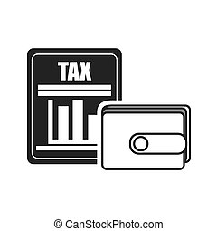 wallet personal accessory with document tax icon silhouette. vector illustration