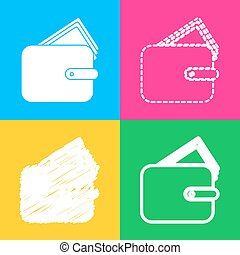 Wallet sign illustration. Four styles of icon on four color squares.