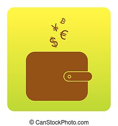 Wallet sign with currency symbols. Vector. Brown icon at green-yellow gradient square with rounded corners on white background. Isolated.