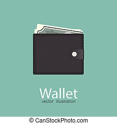 Wallet vector illustration isolated on blue background.
