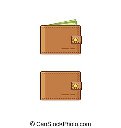 Wallet wit money vector icon isolated on white background