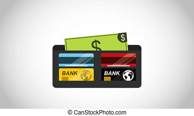 Wallet with bills design, Video Animation HD1080