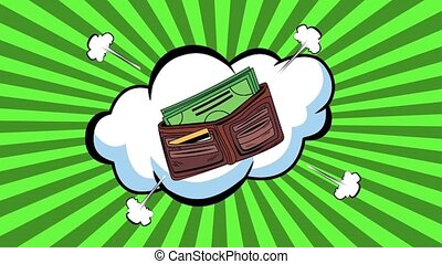 wallet with bills dollars pop art style ,4k video animated