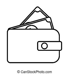 wallet with bills line style icon