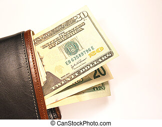 Wallet with cash - A wallet or pocketbook with...