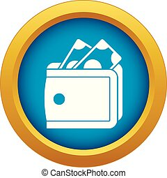 Wallet with cash icon blue vector isolated