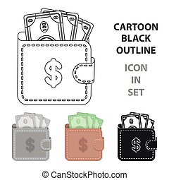 Wallet with cash icon in cartoon style isolated on white background. E-commerce symbol stock vector illustration.