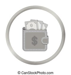 Wallet with cash icon in monochrome style isolated on white background. E-commerce symbol stock vector illustration.