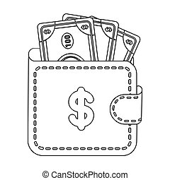 Wallet with cash icon in outline style isolated on white background. E-commerce symbol stock vector illustration.