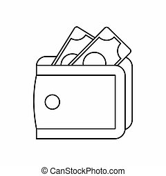 Wallet with cash icon, outline style