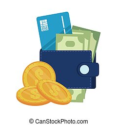 wallet with credit card and money