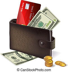Classic modern black leather wallet with bank credit card banknotes and pile of gold coins vector illustration