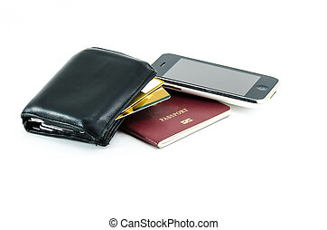 Wallet with credit card, mobile phone and passport -...