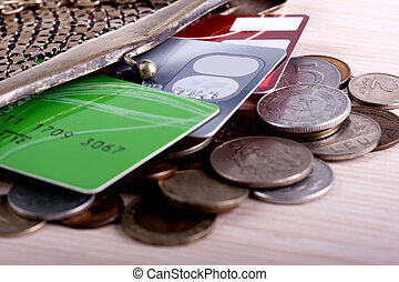 wallet with credit cards and coins - antique purse with...