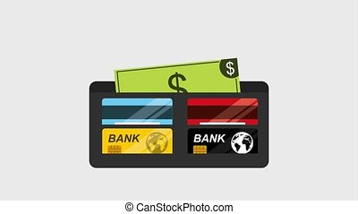 wallet with credit cards bank and dollar banknote money...