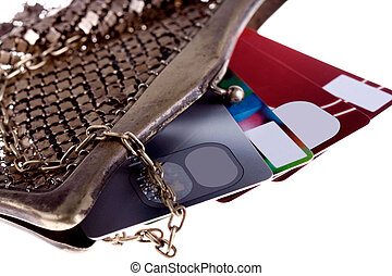 wallet with credit cards - antiquarian purse with credit...