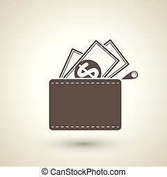 Wallet with dollars icon - retro style wallet with dollars...