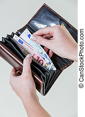 wallet with euro bills - in a wallet are some euro bills....