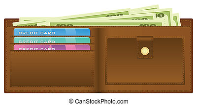 wallet with money - Open wallet with banknotes and credit...