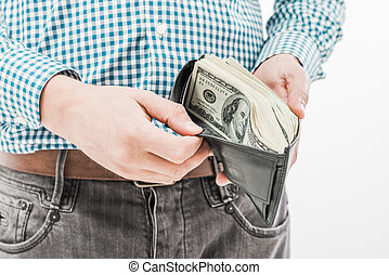 Wallet with money in hand
