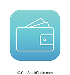 Wallet with money line icon.