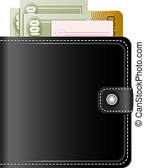 Wallet with money on a white background, EPS, JPEG, AI