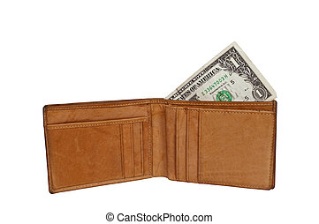 Wallet with one dollar