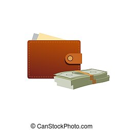Wallet with paper money icon in cartoon style