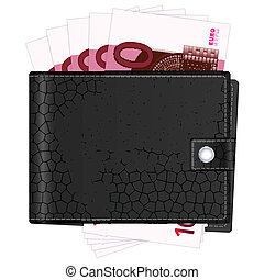 wallet with ten euro banknotes