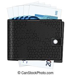 wallet with twenty euro banknotes