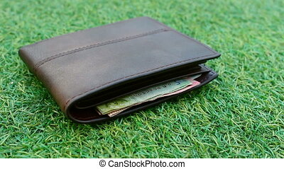 wallets on grass, dolly shot