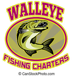 """retro illustration of a walleye fish jumping set inside oval ellipse with sunburst in background and words """"walleye fishing charters"""""""