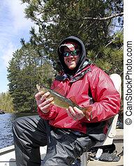 walleye, y, pescador