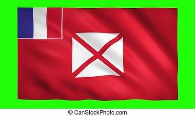 Wallis and Futuna flag on green screen for chroma key
