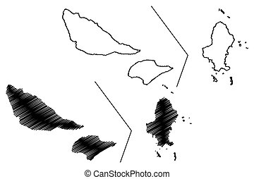 Wallis and Futuna island (France, French Republic, Overseas collectivity) map vector illustration, scribble sketch Territory of the Wallis and Futuna Islands (Alofi) map