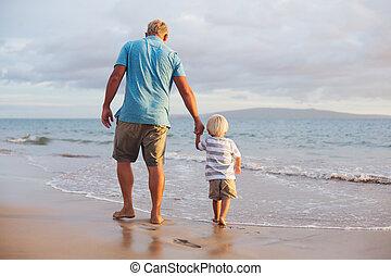 wallking, spiaggia, padre, figlio
