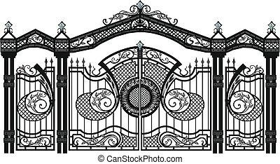 wallpaper., フェンス, 家, products., 偽造された, vector., 門