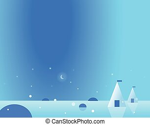 Wallpaper Arctic Landscape with Yurt and Moon, Vector Illustration
