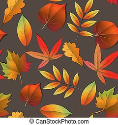 Wallpaper, background beautiful, cute, trendy bright print. Seamless Autumn pattern orange, yellow, brown red fall forest leaves .