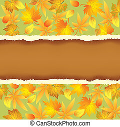 Wallpaper background with autumn leaves pattern