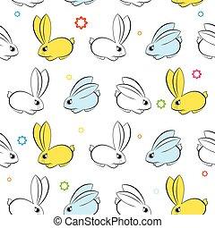 wallpaper., bunnies, seamless, vector, witte , pasen