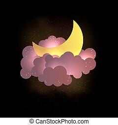 wallpaper., chmury, księżyc, słodki, stars., śni