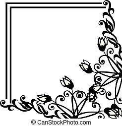 Wallpaper decoration of card, design floral frame. Vector