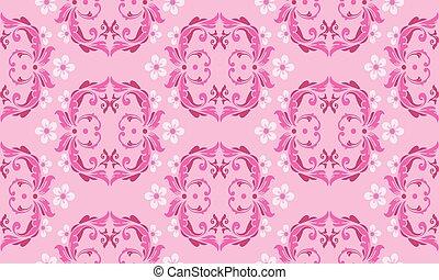 Wallpaper floral pattern, leaf flower on soft pink background.