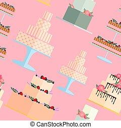 wallpaper., gâteaux, pattern., seamless, tarte, mariage
