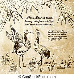Wallpaper heron and bamboo