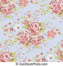 wallpaper seamless vintage pink flower pattern on blue background