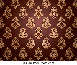 wallpaper., vecteur, seamless, damassé