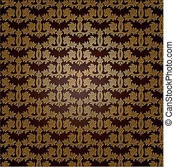 wallpaper., vetorial, seamless, ouro, damasco